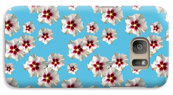 Galaxy S7 Case featuring the mixed media Hibiscus Flower Pattern by Christina Rollo