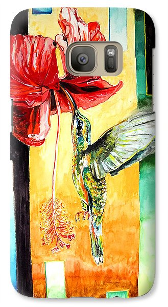 Galaxy Case featuring the painting Hibiscus Hummingbird Visited by Daniel Janda