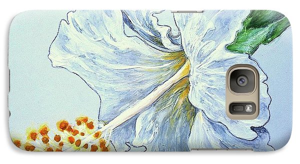 Galaxy Case featuring the painting Hibiscus White And Yellow by Sheron Petrie