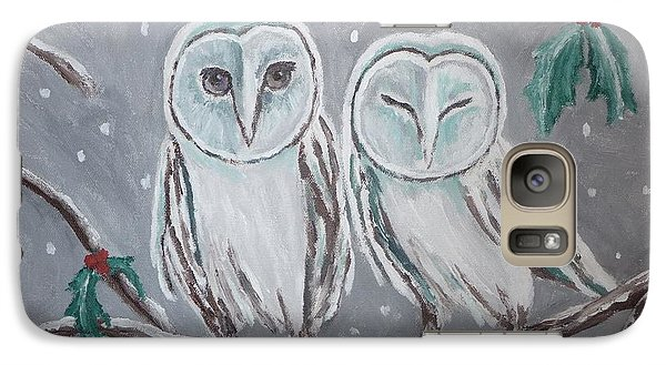 Galaxy Case featuring the painting Hiboux En Hiver by Victoria Lakes