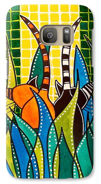 Galaxy Case featuring the painting Hide And Seek - Cat Art By Dora Hathazi Mendes by Dora Hathazi Mendes