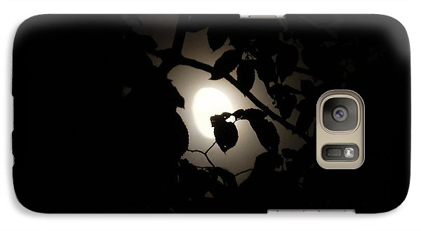 Galaxy Case featuring the photograph Hiding - Leaves Over Moon by Menega Sabidussi