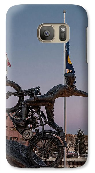 Galaxy Case featuring the photograph Hill Climber Catches The Moon by Randy Scherkenbach