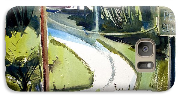 Galaxy Case featuring the painting Hill Top Drive Apartments Matted Framed Glassed by Charlie Spear