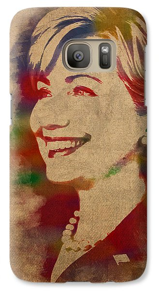 Hillary Clinton Galaxy S7 Case - Hillary Rodham Clinton Watercolor Portrait by Design Turnpike
