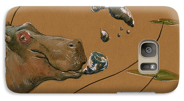 Hippo Bubbles Galaxy Case by Juan  Bosco