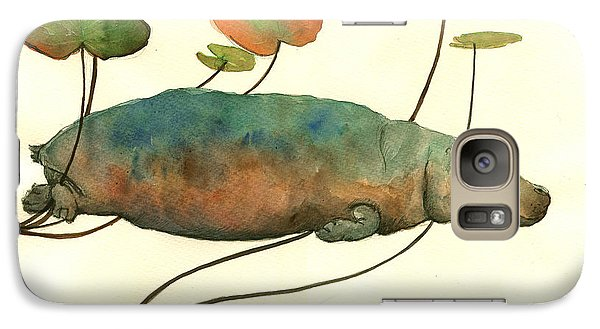 Hippo Swimming With Water Lilies Galaxy Case by Juan  Bosco