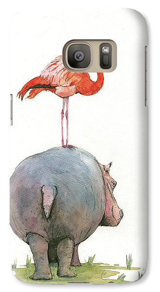 Hippo With Flamingo Galaxy Case by Juan Bosco