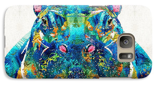Hippopotamus Art - Happy Hippo - By Sharon Cummings Galaxy Case by Sharon Cummings