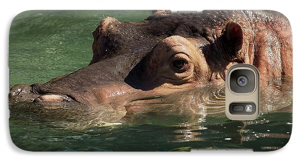 Galaxy Case featuring the photograph Hippopotamus In Water by JT Lewis