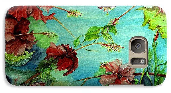 Galaxy Case featuring the painting Hiroko's Hibiscus 4 by Rachel Lowry
