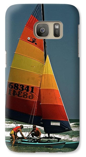 Galaxy Case featuring the photograph Hobie Cat In Surf by Sally Weigand
