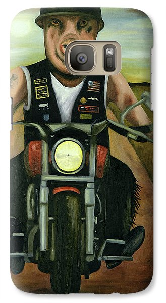 Galaxy Case featuring the painting Hog Wild by Leah Saulnier The Painting Maniac