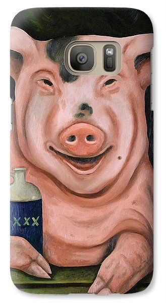 Galaxy Case featuring the painting Hogging The Moonshine by Leah Saulnier The Painting Maniac
