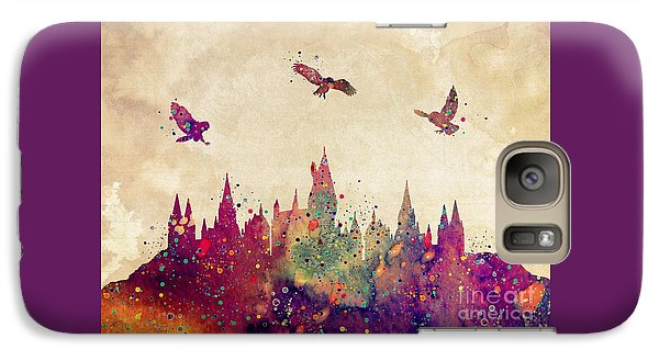 Wizard Galaxy S7 Case - Hogwarts Castle Watercolor Art Print by Svetla Tancheva