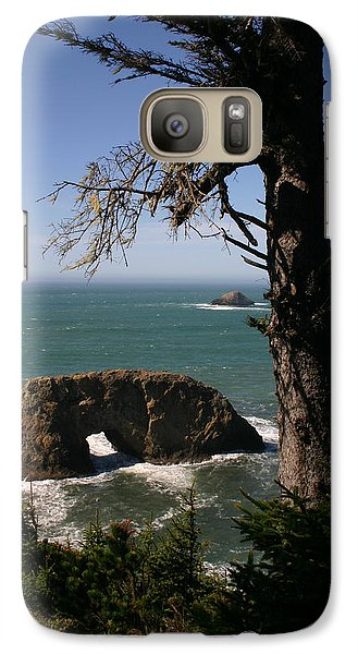 Galaxy Case featuring the photograph Hole In One At Arch Rock by Marie Neder