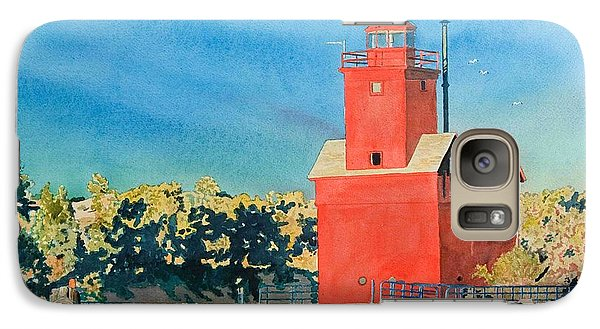 Galaxy Case featuring the painting Holland Lighthouse - Big Red by LeAnne Sowa