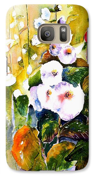 Galaxy Case featuring the painting Hollyhock Garden 1 by Marti Green