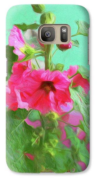 Galaxy Case featuring the photograph Hollyhocks - 2  by Nikolyn McDonald