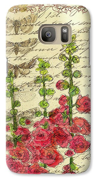 Galaxy Case featuring the drawing Hollyhocks And Butterflies  by Cathie Richardson