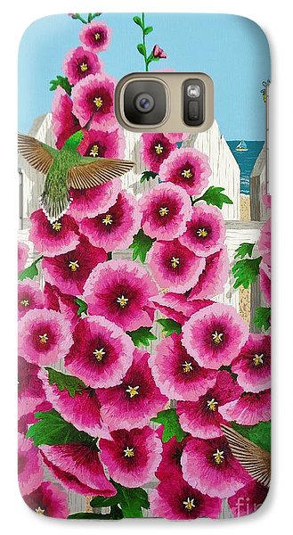 Galaxy Case featuring the painting Hollyhocks And Humming Birds by Katherine Young-Beck