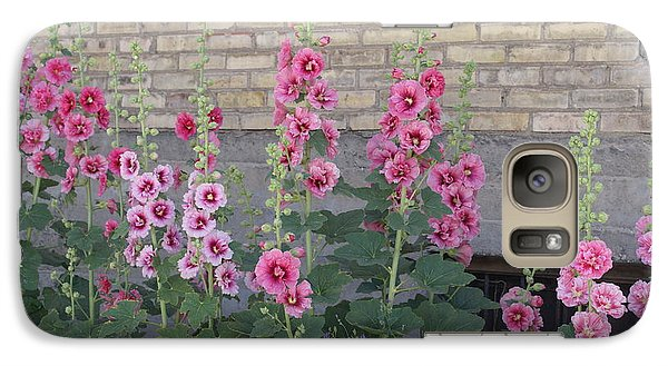 Galaxy Case featuring the photograph Hollyhocks by Cynthia Powell