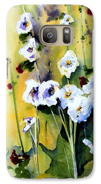 Galaxy Case featuring the painting Hollyhocks by Marti Green