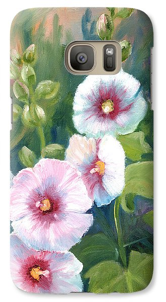 Galaxy Case featuring the painting Hollyhocks by Renate Nadi Wesley