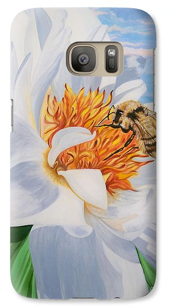 Galaxy Case featuring the painting Honey Bee On White Flower by Sigrid Tune