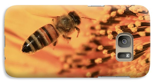 Galaxy Case featuring the photograph Honeybee And Sunflower by Chris Berry