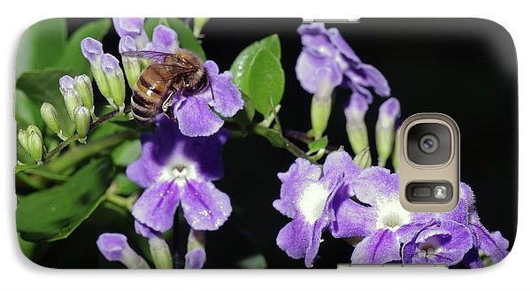 Galaxy Case featuring the photograph Honeybee On Golden Dewdrop II by Richard Rizzo