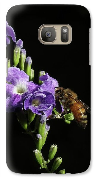 Galaxy Case featuring the photograph Honeybee On Golden Dewdrop by Richard Rizzo