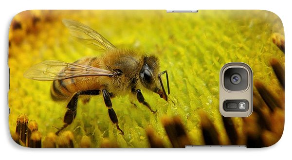 Galaxy Case featuring the photograph Honeybee On Sunflower by Chris Berry