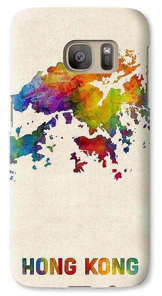 Hong Kong Watercolor Map Galaxy S7 Case by Michael Tompsett