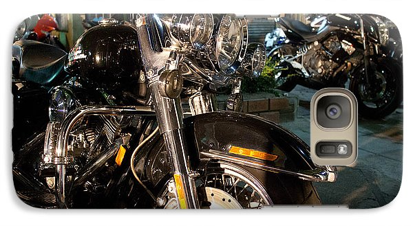 Galaxy Case featuring the photograph Horizontal Front View Of Fat Cruiser Motorcycle With Chrome Fork by Jason Rosette