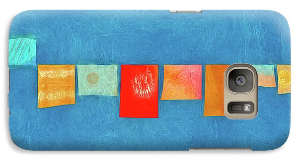 Galaxy Case featuring the photograph Horizontal String Of Colorful Prayer Flags 1 by Carol Leigh