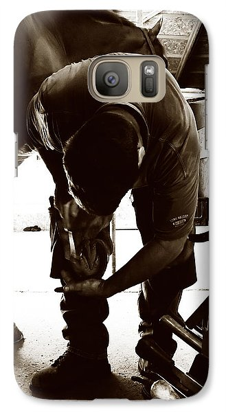 Galaxy Case featuring the photograph Horse And Farrier by Angela Rath