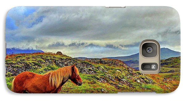 Galaxy Case featuring the photograph Horse And Mountains by Scott Mahon