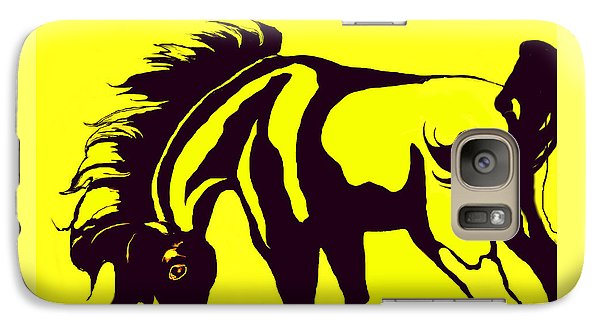Galaxy Case featuring the digital art Horse-black And Yellow by Loxi Sibley