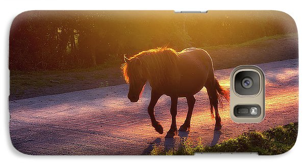 Horse Galaxy S7 Case - Horse Crossing The Road At Sunset by Mikel Martinez de Osaba