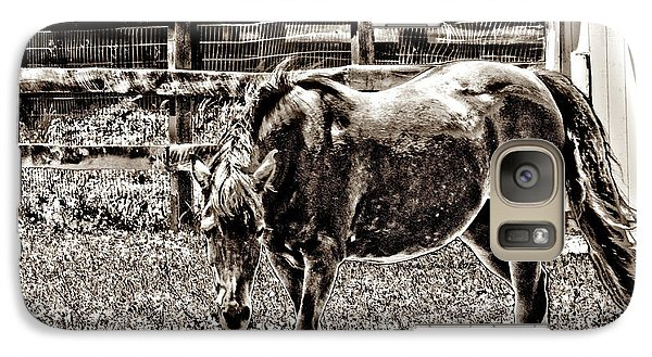 Galaxy Case featuring the photograph Horse In Black And White by Annie Zeno