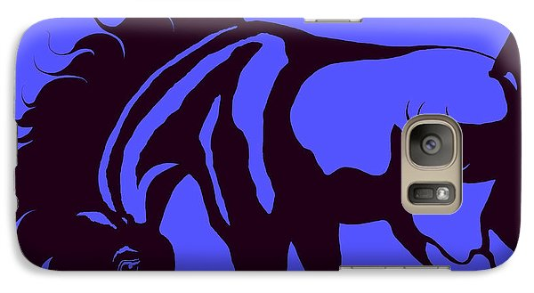 Galaxy Case featuring the digital art Horse In Blue And Black by Loxi Sibley