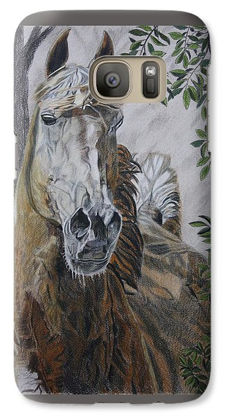 Galaxy Case featuring the drawing Horse by Melita Safran