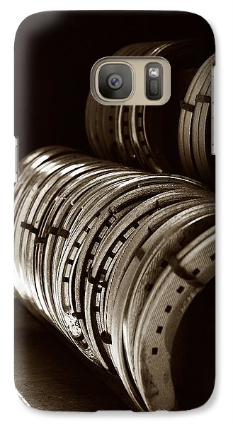 Galaxy Case featuring the photograph Horse Shoes In Sepia by Angela Rath