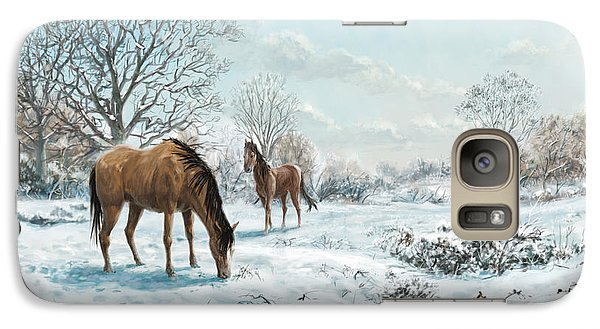Galaxy Case featuring the digital art Horses In Countryside Snow by Martin Davey