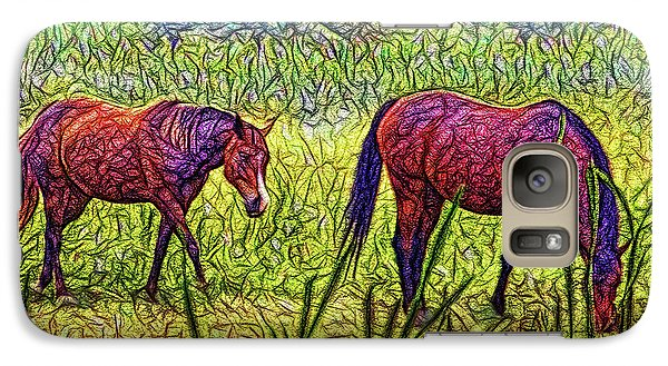 Horses In Tranquil Field Galaxy S7 Case