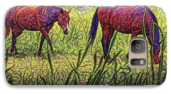 Horses In Tranquil Field Galaxy S7 Case by Joel Bruce Wallach