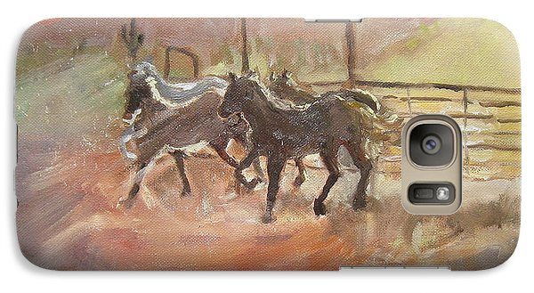 Galaxy Case featuring the painting Horses by Julie Todd-Cundiff