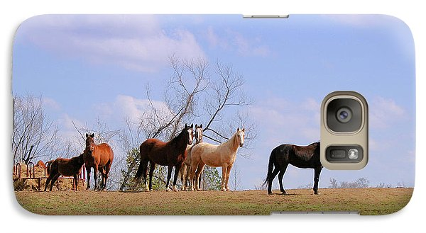 Galaxy Case featuring the photograph Horses On The Hill by Bonnie Willis
