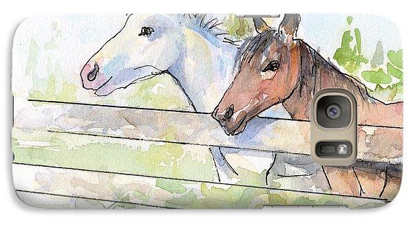 Horse Galaxy S7 Case - Horses Watercolor Sketch by Olga Shvartsur